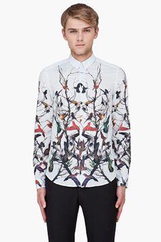 MCQ ALEXANDER MCQUEEN Ivory Hummingbird Print Shirt