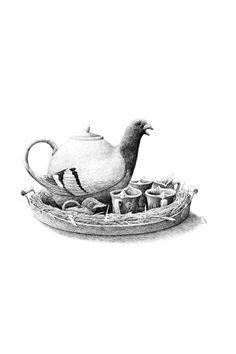 Pigeon tea set drawing