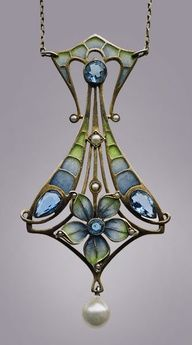 Gorgeous art nouveau Carl Hermann Jugenstil pendant necklace, German, c.1900, #vintage #1900s #jewelry