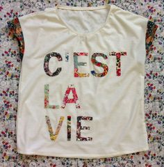 DIY J.Crew C'est La Vie Tee... Includes directions on how to appliqué letters without the need to reverse them ~ Mad For Fabric