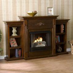 Gentil SEI Tennyson Gel Fuel Fireplace With Bookcases, Espresso