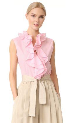 TOME Sleeveless Ruffle Collar Shirt. #tome #cloth #dress #top #shirt #sweater #skirt #beachwear #activewear