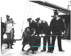 It appears Tsarevich Alexei and Grand Duchess Anastasia have tied up officers on the Imperial yacht