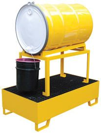 Horizontal Steel Retentin Basins  Dispense or store 55-gallon steel drums with this non-flammable heavy-duty Horizontal Steel Retention Basin. This unit is constructed of steel to resist extreme heat environments. The rugged steel construction provides durability and repairability.  Portability is made easy with the built in fork pockets.  The built-in horizontal drum cradles are sloped. Meets EPA 40 CPR-264.175 & UFC 8003.1.3.4