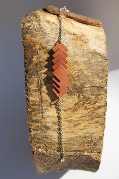 Just Squares   Bruine armband van leer van LiemNio op Etsy
