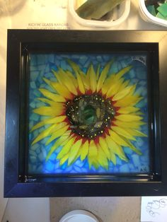 Small sunflower stained glass mosaic courtesy of Kickin' Glass Kansas