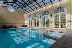 Great Indoor Pool With Retractable Roof In Garden City