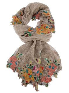 Faliero Sarti Floral Print Scarf One to make for myself. Embroider onto cheesecloth I think, then applique to a fine wool scarf. Mundo Hippie, Mode Boho, Textiles, Floral Scarf, Lace Scarf, Boho Fashion, Boho Chic, At Least, Cowls