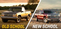 Hardest question you'll face all day: which truck would you take here - Old School or New School? ‪#‎ThrowbackThursday‬