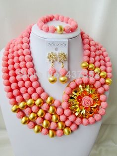 Amazing Nigerian Bead Necklaces Wedding Artificial Beads Jewelry Set African Coral Beads Jewelry Set CWS1100 $98.70