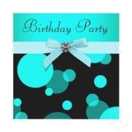Image detail for -Teal Blue Bubbles Any Number Birthday Party zazzle_invitation