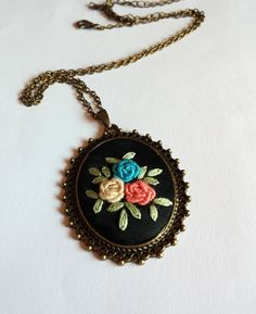Roses Bouquet Hand Embroidered Necklace Vintage by RedWorkStitches