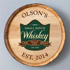 These whiskey barrel signs sure do make a statement. A jewel of any man's home bar or man cave. This personalized genuine whiskey barrel bottom sign can be the centerpiece to any bar. A great gift for dad or a loved one who loves their bar or man cave Bar Signs, Wood Signs, Aged Whiskey, Whiskey Barrels, Irish Whiskey, Whiskey Bottle, Personalized Whiskey Barrel, Making Signs On Wood, Aging Wood