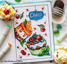 Ideas For Cake Drawing Beautiful Marker Kunst, Copic Marker Art, Sketch Markers, Copic Drawings, Cool Art Drawings, Art Drawings Sketches, Cake Sketch, Food Sketch, Cake Drawing
