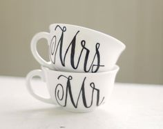 mr. and mrs. upcycled vintage tea cup - black and white classic calligraphy font - set of two (2) ready to ship. $34.00, via Etsy.
