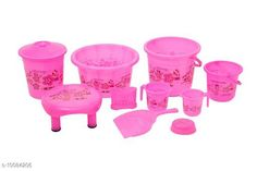 Bath Sets 10 Pieces Plastic Bathroom Set Pink Pack: Multipack Country of Origin: India Sizes Available: Free Size   Catalog Rating: ★4.3 (721)  Catalog Name: Fancy Bath Sets CatalogID_1806235 C132-SC1587 Code: 859-10084206-6162