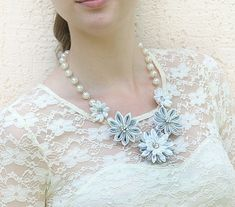 Kanzashi Flower Necklace, white, silver, handmade fabric flowers, necklace for bride, wedding jewelry, Ready to ship