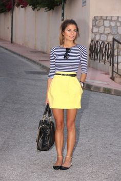 @roressclothes clothing ideas #women fashion striped blouse, yellow skirt, black handbag, shoes