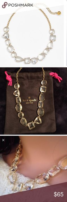 "♠️ Kate Spade ""Vegas Jewels""Necklace ♠️ Beautiful statement piece! A string of faceted stones graces the front of a simple, elegant collar necklace. Never worn! 17"" length; 3"" extender; 1/2"" width. Lobster clasp closure. 14k-gold plate/epoxy. By kate spade new york; imported. kate spade Jewelry Necklaces"