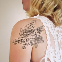 Floral shoulder temporary tattoo