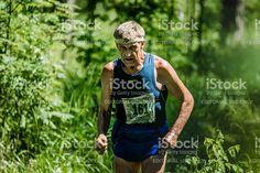 Miass, Russia - June 28, 2015: Unidentified old man run during marathon 'Running clean water-2015', Miass, Russia - June 28, 2015