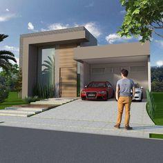 Resultado de imagen para fachadas de casas com pe direito alto Duplex Design, Townhouse Designs, Bungalow House Design, Modern House Design, Modern House Facades, Modern House Plans, Facade Design, Exterior Design, Narrow House Designs