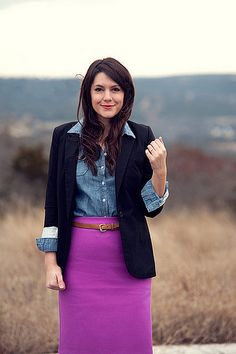 navy, denim and fuschia