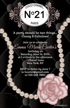 Custom Hand Drawn Classy and Fabulous CoCo Chanel Inspired Birthday Party Invitation Printable Digital File