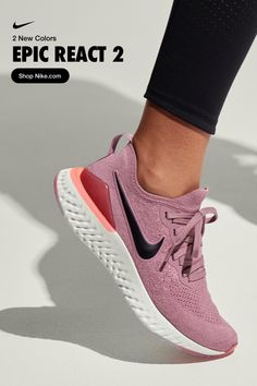 Whether it's bouncy black or pillowy plum, these two new Epic React 2 colors will keep you running in springy soft comfort for miles. Nike Tennis Shoes, Workout Shoes, Cute Shoes, Me Too Shoes, Shoe Game, Sneakers Fashion, Fashion Shoes, Workout Attire, Running Shoes