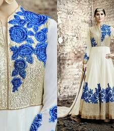 Buy Cream  pure georgette embroidered semi stitiched salwar with dupatta party-wear-salwar-kameez online