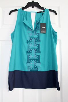 NWT 41Hawthorn Stitch Fix Aqua/Navy Embroidered Sleeveless Blouse Top Ex Large #41HawthornforStitchFix #Blouse