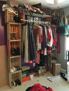 Diy Cloves Rack Using Wooden Crates Closet Rod Goes In