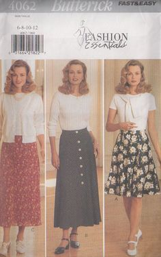 MOMSPatterns Vintage Sewing Patterns - Butterick 4062 Retro 90's Sewing Pattern Fast & Easy Fashion Essentials Flirty Flared, Front Buttoned Secretary Skirt Set Size 14-18