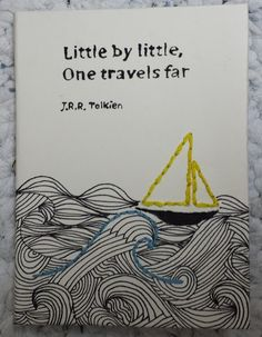 """Little by little, one travels far"" Not a Tolkien quote, and will not be attributed to him next time:) Handmade zentangle and embroidery art. 42 sheets (84 pages). Lined paper, 140 g. Size:  10*14 cm. Price: 10$"