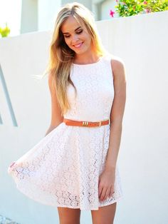 Cute White Lace Dress for Girls