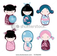 Stock Vector Illustration: Kokeshi dolls  Image ID: 71782240
