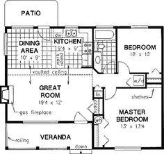 2 Bedroom, 1 Bath Cottage House Plan Image