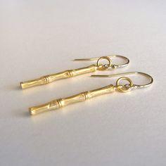 Gold Bamboo Earrings. Etsy $47
