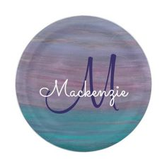 Visionary Monogram Pink Purple Turquoise Teal Paper Plate