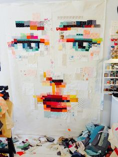 Pixelated Face Quilt  by yummygoods, via Flickr