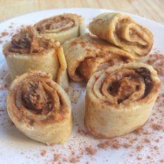 """Rollitos de canela, con base de harina de avena y clara de huevo y relleno con la salsa sin calorías """"Cinnamon Raisin Peanut"""" de Walden Farm"""