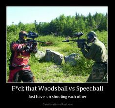 Woodsball VS Speedball, don't see any inflatables ! Think you may be a bit lost ! paintball gun Outpost 43 everything paintball Silverdale Auckland www.op43.co.nz