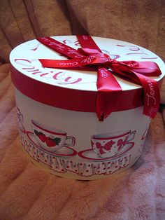 Cup and saucer print novelty hat box.