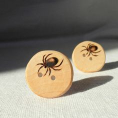 Handmade Creepy Halloween Button Pyrography by WoodenHeartButtons