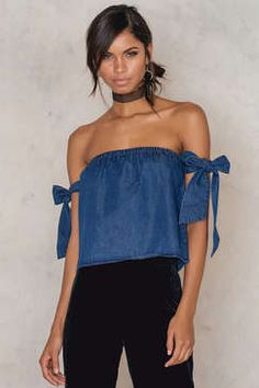 NA-KD Off Shoulder Tied Sleeve Denim Top Found on my new favorite app Dote Shopping #DoteApp #Shopping
