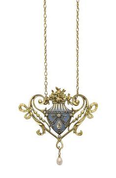 AN ART NOUVEAU ENAMEL, PEARL, DIAMOND AND GOLD PENDANT, BY LUCIEN GAUTRAIT - 1905.