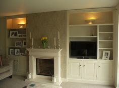 use of your chimney alcoves by fitting them out with some stylish painted bookcases and cupboards. Painted in Farrow & Ball's Slipper Satin. Living Room Storage, Living Room Grey, Home Living Room, Living Room Designs, Living Room Decor, Living Roon, Alcove Shelving, Alcove Cupboards, Alcove Storage
