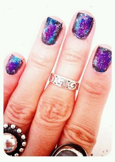 Outer space nails #galaxy #diy #manicure #universe