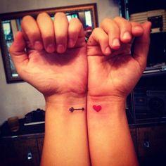 Arrow and heart tattoo. Couples tattoo