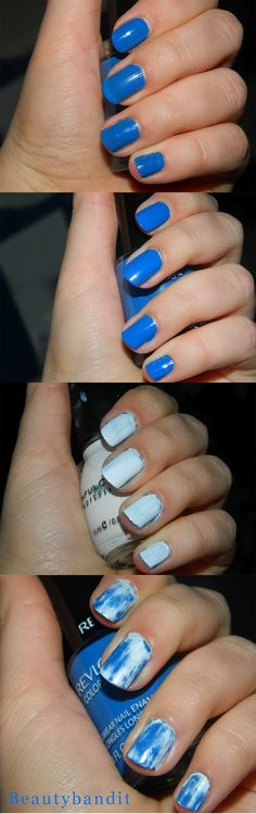 1) Paint your nails with a blue color.     2) Apply another coat of the blue. This will help to not get to your bare nail as fast.  3) Apply a white color on top of the blue. I used Sinful Colors in Snow Me White.  4) Dip a Q-tip in nail polish remover and gently swipe away the white. Be careful not to get to your bare nail.   5) Top coat! I used OPI Nail Envy Matte because it gives a nice natural finish- I didn't want something super glossy or completely matte.  And you're done!